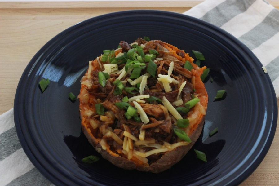 Healthy dinner bbq chicken loaded sweet potato
